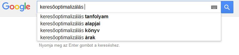 Google keresőt is választhatjuk a megfelelő kulcsszavunk kiválasztásához