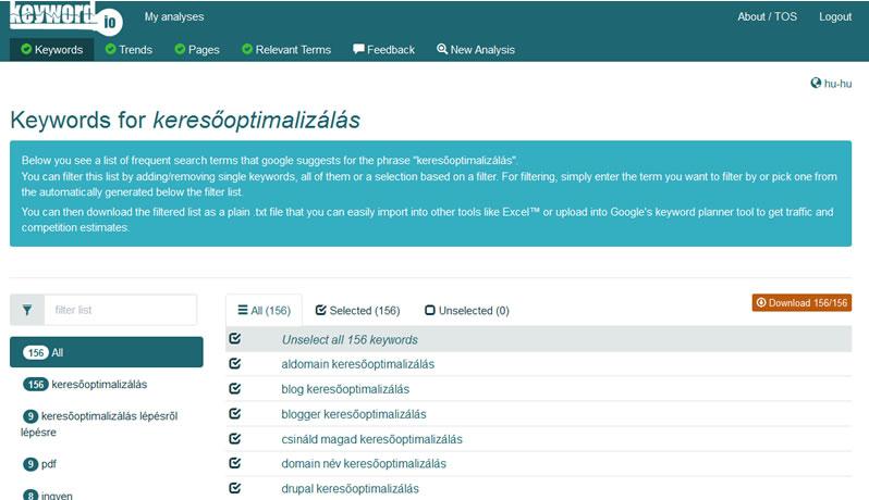az ingyenes keyword.io egy új és hatékony kulcsszó listázó eszköz
