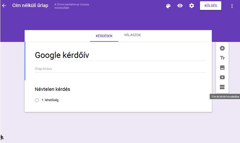 Google kérdőív első lépés
