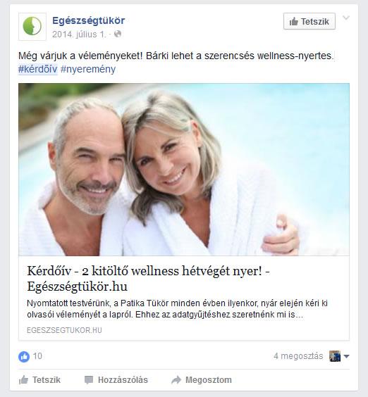 Egy másik példa, hogyan jelenik meg egy kérdőív post a Facebook-n
