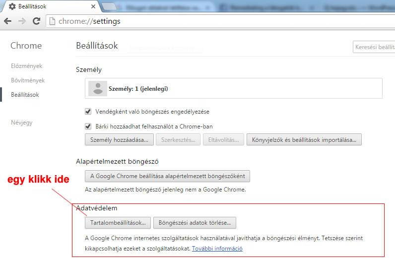 Google Chrome felugró ablak tiltás második lépés