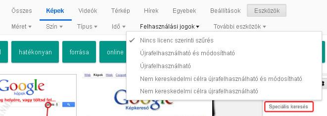Google képkeresőben lévő képek felhasználhatósága