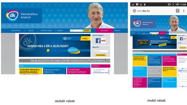 Ilyen a dkp.hu weboldalak asztali és mobil nézetben