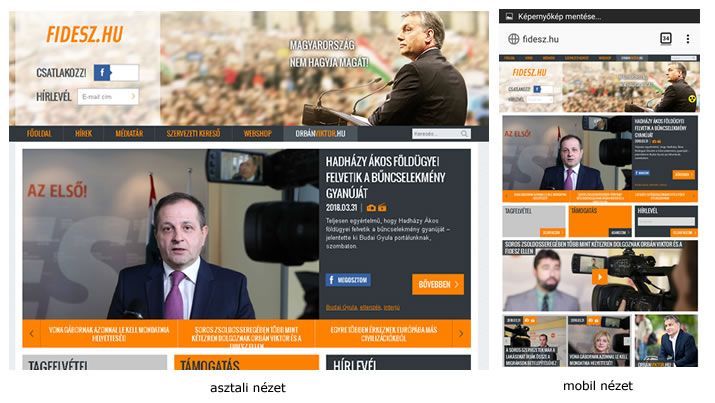 Fidesz.hu mobil és asztali nézete