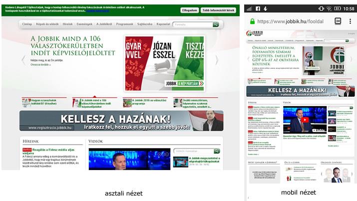 Jobbik.hu mobil és asztali megjelenése