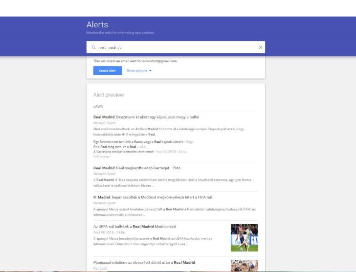 Real Madrid a Google Értesítőben