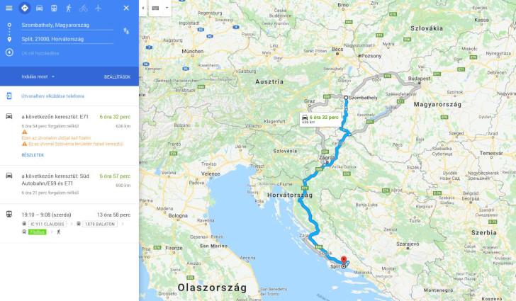 Google Maps útvonal tervezés
